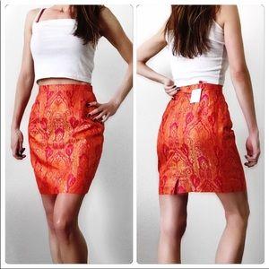 Escada Skirts - Escada Red Orange Paisley Silk Brocade Skirt Suit